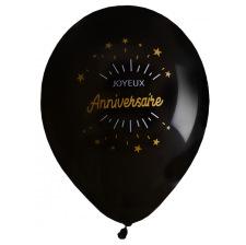Ballons Joyeux Anniversaire Noir & Or (x8)