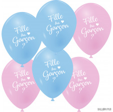 Ballons Latex Bleu Rose Fille ou Garçon (x6)