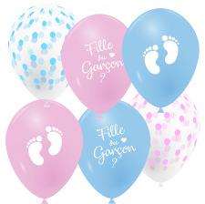 Ballons latex Mélange Pois Pieds Fille ou Garçon (x6)