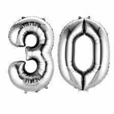 Ballons Mylar Aluminium Argent Anniversaire Chiffre 30