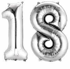 Ballons Mylar Aluminium Chiffre 18 ans Argent