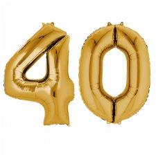 Ballons Mylar Aluminium Chiffre 40 ans Or