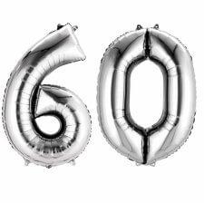 Ballons Mylar Aluminium Chiffre 60 Argent