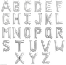 Ballons Mylar Aluminium Lettre Argent Alphabet 36 cm