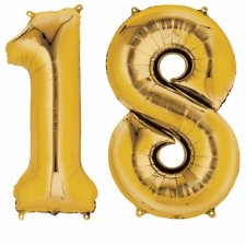 Ballons Mylar Aluminium Or Anniversaire Chiffre 18 ans (x2)
