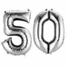 Ballons mylar argent anniversaire chiffre 50 ans