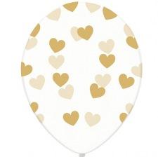 Ballons Transparent Coeur Or (x5)