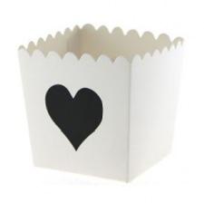 Boîtes à Bonbon Blanc Coeur Noir (x6)