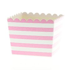 Boîtes à Bonbon Rayure Rose Pastel (x6)
