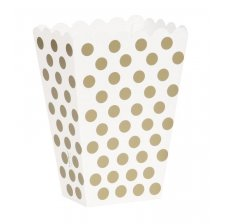 Boîtes à Popcorn à pois Or (x8)