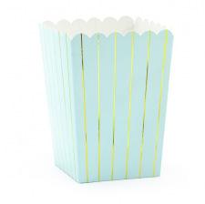 Boîtes à Popcorn Rayure Mix Bleu (x6)