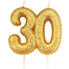 Bougie anniversaire or pailleté 30 ans