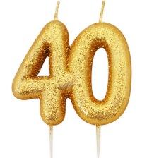 Bougie anniversaire or pailleté 40 ans
