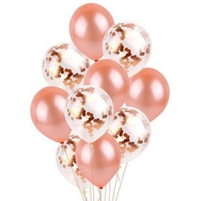 Bouquet 10 Ballons Baudruche Biodégradable Rose Gold