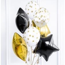 Bouquet 10 Ballons Etoile Noir, Or & Blanc