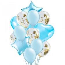 Bouquet 12 Ballons Bleu + Confettis Or + Coeur + Etoile Mylar