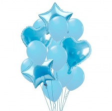 Bouquet 12 Ballons Bleu Pastel + Coeur + Etoile Mylar