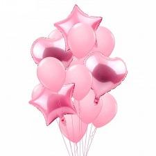 Bouquet 12 Ballons Mylar Rose Pastel + Coeur + Etoile