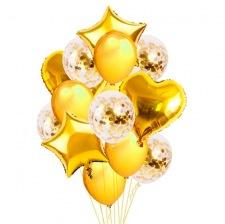 Bouquet 12 Ballons Or + Confettis Or + Coeur + Etoile