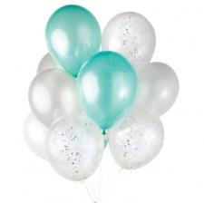 Bouquet 6 Ballons Baudruche Biodégradable Mint & Argent (x6)