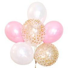 Bouquet 6 Ballons Biodégradable Rose, Blanc & Or