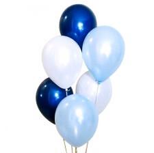 Bouquet Ballons Bleu Pastel, Bleu Nuit et Blanc (x6)