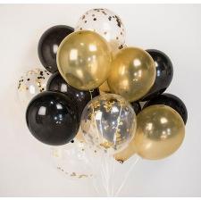 Bouquet Ballons Latex Noir, Or & Confettis Or