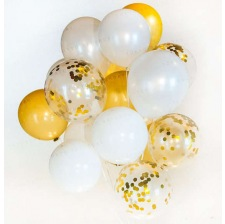Bouquet Ballons Latex Or, Blanc & Confettis Or