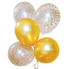 Bouquet Ballons latex Or et Confettis Or (x6)