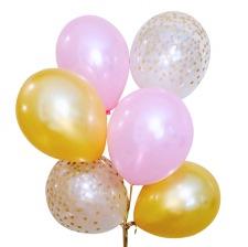 Bouquet Ballons latex Rose, Or et Confettis Or (x6)