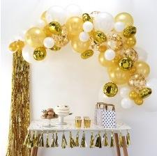 Bouquet de 60 ballons Or & Blanc