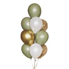 Bouquet de ballons Vert Eucalyptus & Or Chromé (x10)