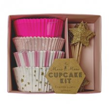 Caissettes à Cupcake rose et or  + Toppers Etoiles Or (x48)