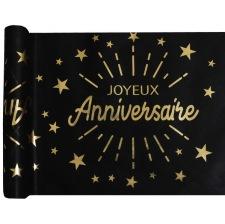 Chemin de table Joyeux Anniversaire Noir & Or