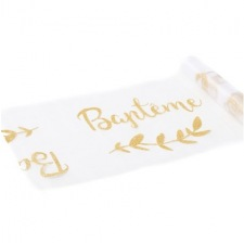 Chemin de table Organza Baptême Pailleté Or