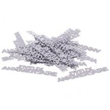 Confettis de table Argent Joyeux Anniversaire