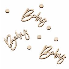 Confettis de table Baby en bois végétal (x18)
