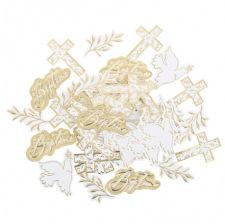 Confettis de table Baptême Blanc & Or (x24)
