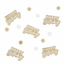Confettis de table Happy Birthday Blanc & Or