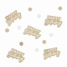Confettis de table Happy Birthday Blanc & Or