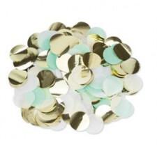 Confettis de table Papier Mint, Blanc & Or 3cm