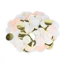 Confettis de table Papier Pêche, Blanc & Or 3cm
