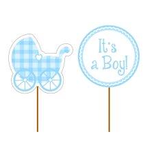Déco gâteau Bleu It's a Boy (x12)