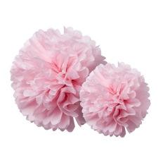 Duo Pompons Fleur de Papier de soie Rose (x2)