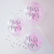 EVJF Ballons Confettis Rose Miss to Mrs (x5)