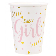 Gobelets en carton Baby Girl Rose (x10)