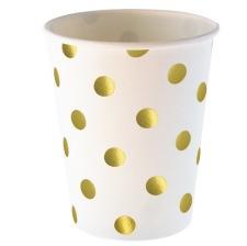 Gobelets en carton Blanc Pois Or (x6)