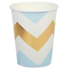 Gobelets en carton chevron Bleu et Or (x8)