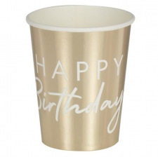 Gobelets en carton Happy Birthday Blanc & Or (x8)