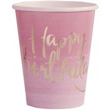 Gobelets en carton Happy Birthday Rose et Or (x8)